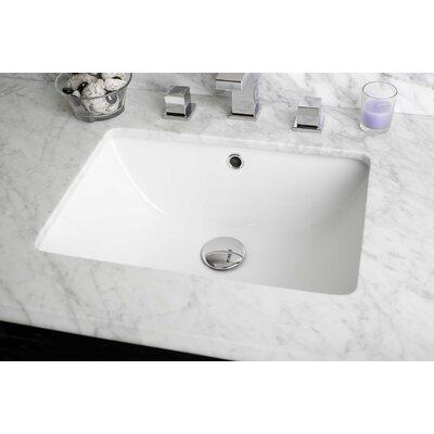 American Imaginations Ceramic Rectangular Undermount Bathroom Sink with Overflow Sink Finish: White, Hardware Finish: Aluminum