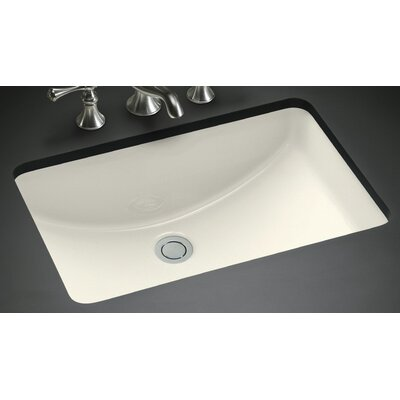 American Imaginations Ceramic Rectangular Undermount Bathroom Sink with Overflow Sink Finish: Biscuit, Hardware Finish: Brushed Gold