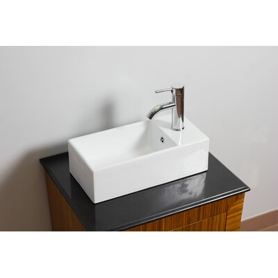 Ceramic Rectangular Vessel Bathroom Sink with Overflow Hardware Finish: Gold