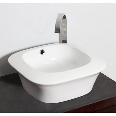 Ceramic Square Vessel Bathroom Sink with Overflow Hardware Finish: Stainless Steel