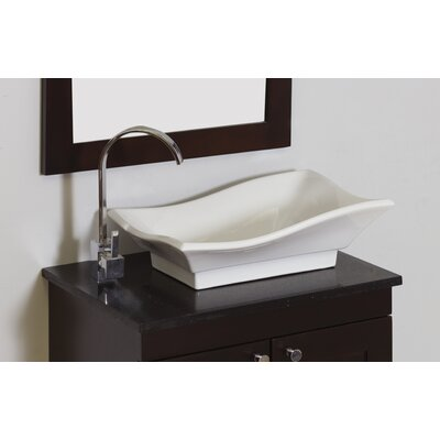 Ceramic Rectangular Vessel Bathroom Sink Hardware Finish: Chrome