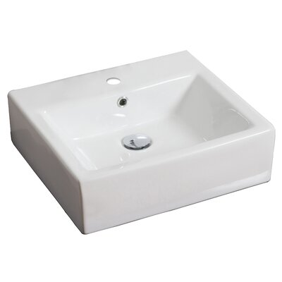 Ceramic Rectangular Vessel Bathroom Sink with Overflow Hardware Finish: Antique Brass
