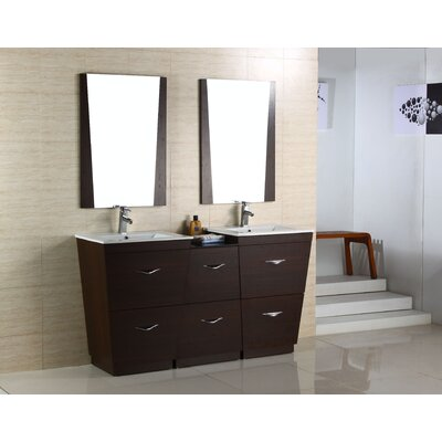 Kao Modern Floor Mount 61.5 Single Bathroom Vanity Set Faucet Mount: Single Hole