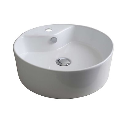 Ceramic Oval Vessel Bathroom Sink with Overflow Hardware Finish: White