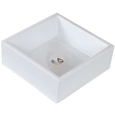 Ceramic Square Vessel Bathroom Sink Hardware Finish: Gold