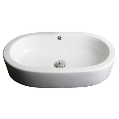 Semi-Recessed Oval Vessel Bathroom Sink with Overflow Hardware Finish: Stainless Steel