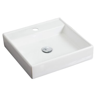 Ceramic 18 Wall Mount Bathroom Sink Hardware Finish: Brushed Gold, Faucet Mount: 4 Off Center
