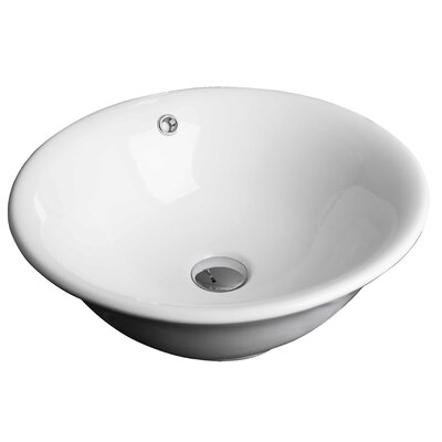Ceramic Circular Vessel Bathroom Sink with Overflow Hardware Finish: Aluminum