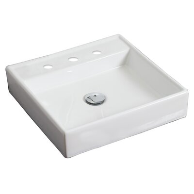 Ceramic 18 Wall Mount Bathroom Sink