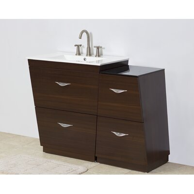 Modern 43.5 Single Bathroom Vanity Set Hardware Finish: Aluminum, Faucet Mount: 4 Off Center