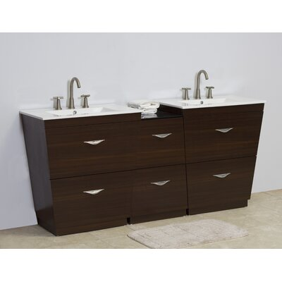 Kao Modern Floor Mount 61.5 Single Bathroom Vanity Set Faucet Mount: 8 Centers