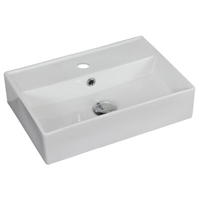 Ceramic Rectangular Vessel Bathroom Sink with Overflow Hardware Finish: Stainless Steel, Faucet Mount: 8 Off Center