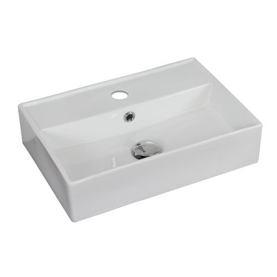 Ceramic 20 Wall Mount Bathroom Sink with Overflow Hardware Finish: Stainless Steel, Faucet Mount: 8 Off Center