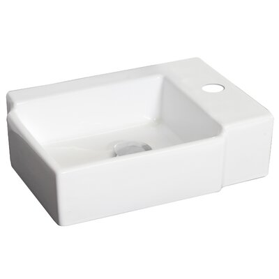 Ceramic 17 Wall Mount Bathroom Sink Hardware Finish: Brushed Nickel, Faucet Mount: 4 Off Center