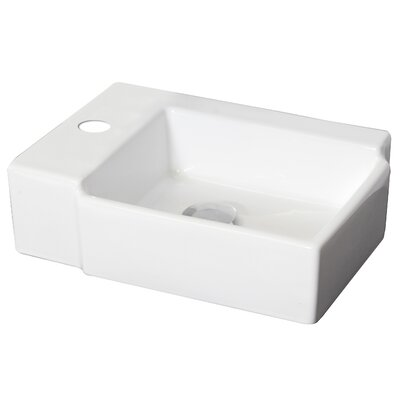 Ceramic Rectangular Vessel Bathroom Sink Hardware Finish: Chrome, Faucet Mount: Single