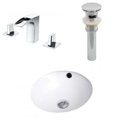 Ceramic Circular Undermount Bathroom Sink with Faucet and Overflow