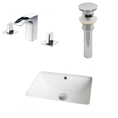Rectangular Undermount Bathroom Sink with Overflow Sink Finish: White