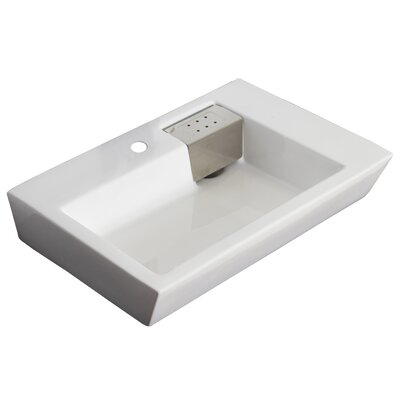Ceramic 26 Wall Mount Bathroom Sink with Overflow Hardware Finish: Gold