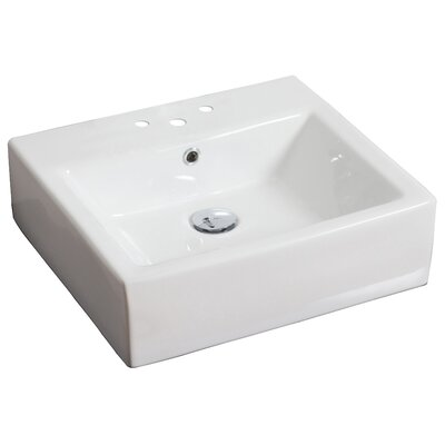 Above Counter Rectangular Vessel Bathroom Sink Faucet Mount: 4 Off Center, Hardware Finish: White