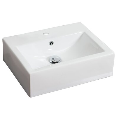 Ceramic Rectangular Vessel Bathroom Sink with Overflow Hardware Finish: Brushed Gold, Faucet Mount: 4 Off Center