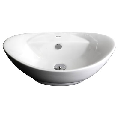 Above Counter Oval Vessel Bathroom Sink with Overflow Hardware Finish: Brushed Gold