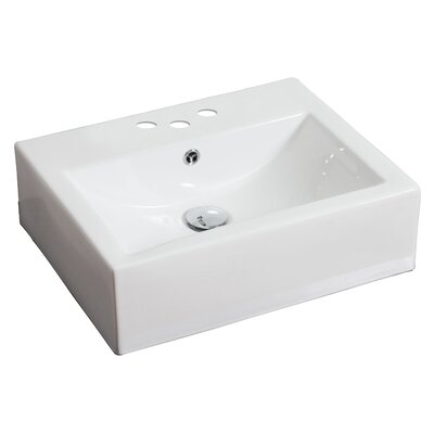 20 American Imaginations Wall Mounted Bathroom Sink Faucet Mount: 4 Off Center, Hardware Finish: White