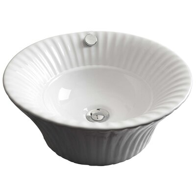 Ceramic Circular Vessel Bathroom Sink with Overflow Hardware Finish: Brushed Gold
