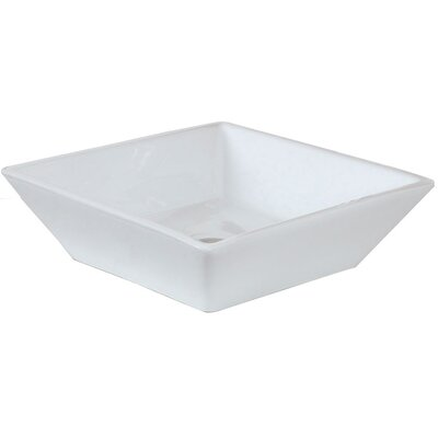 Ceramic Square Vessel Bathroom Sink Hardware Finish: Brushed Gold