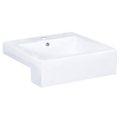 Semi-Recessed Rectangular Vessel Bathroom Sink Faucet Mount: Single, Hardware Finish: White