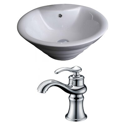 Circular Vessel Bathroom Sink with Overflow