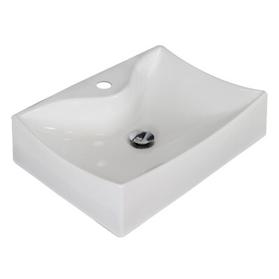 Ceramic Rectangular Vessel Bathroom Sink Hardware Finish: Brushed Nickel