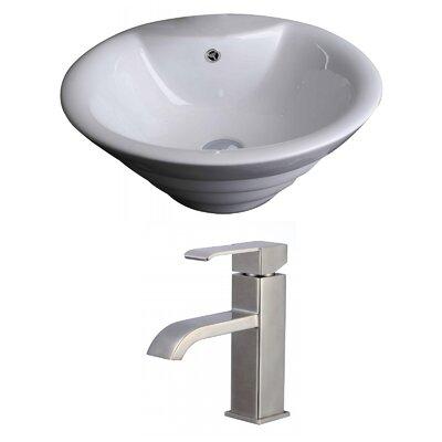 Circular Vessel Bathroom Sink with Overflow