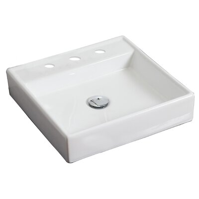 Ceramic Square Vessel Bathroom Sink Hardware Finish: White, Faucet Mount: 8 Off Center