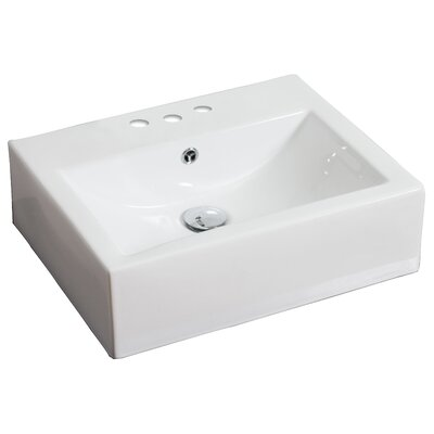 Ceramic 21 Wall Mount Bathroom Sink with Overflow Hardware Finish: Antique Brass, Faucet Mount: 8 Off Center