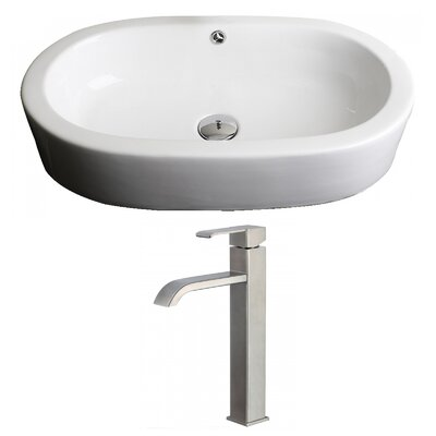 Transition Oval Vessel Bathroom Sink with Overflow