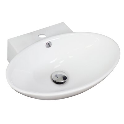 Ceramic Oval Vessel Bathroom Sink with Overflow Hardware Finish: Antique Brass
