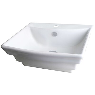 Ceramic 20 Wall Mount Bathroom Sink with Overflow Hardware Finish: Brushed Gold
