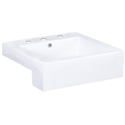 Xena Farmhouse Ceramic Rectangular Vessel Bathroom Sink with Faucet and Overflow