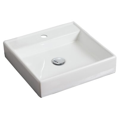Ceramic Square Vessel Bathroom Sink Hardware Finish: Brushed Gold, Faucet Mount: Single
