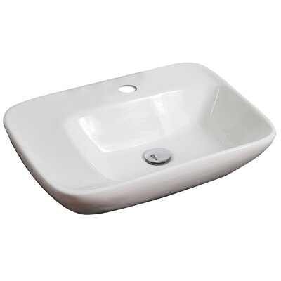 Above Counter Rectangular Vessel Bathroom Sink with Overflow Hardware Finish: Brushed Gold