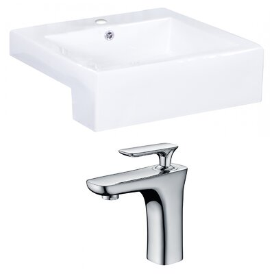 Xena Farmhouse Rectangular Bathroom Vessel Sink with Overflow