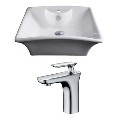 Rectangular Vessel Bathroom Sink with Overflow