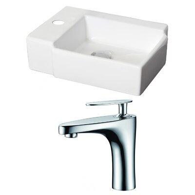 Ceramic 17 Wall Mount Bathroom Sink with Faucet