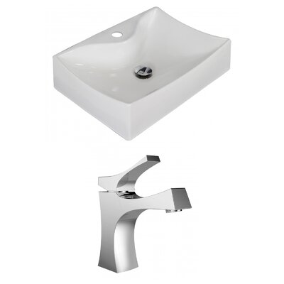 Ceramic 22 Wall Mount Bathroom Sink with Faucet