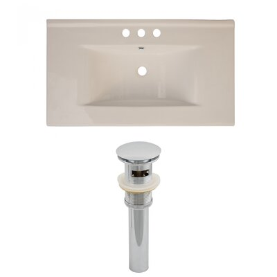 Drake Ceramic 36 Single Bathroom Vanity Top Faucet Mount: 8 Centers, Top Finish: Biscuit