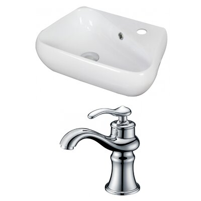 Unique Ceramic 18 Wall Mount Bathroom Sink with Faucet and Overflow