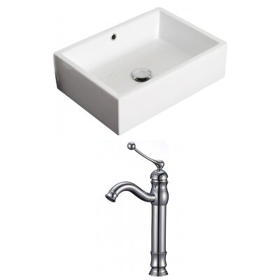 Above Counter Rectangular Vessel Bathroom Sink