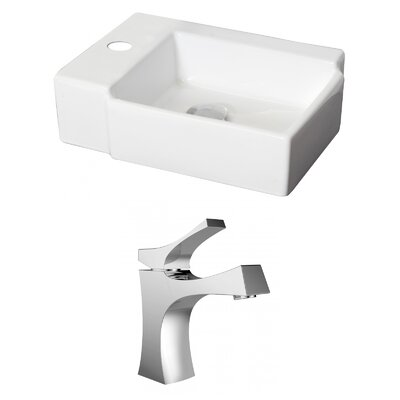 Ceramic Rectangular Vessel Bathroom Sink with Faucet
