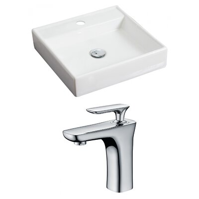 Ceramic 18 Wall Mount Bathroom Sink with Faucet