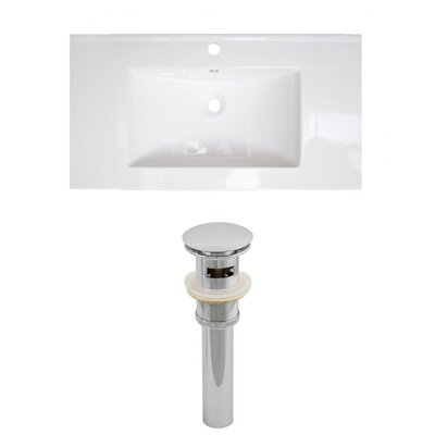 Flair Ceramic 32 Single Bathroom Vanity Top Faucet Mount: Single Hole